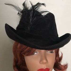 Black Vintage Velour Hat